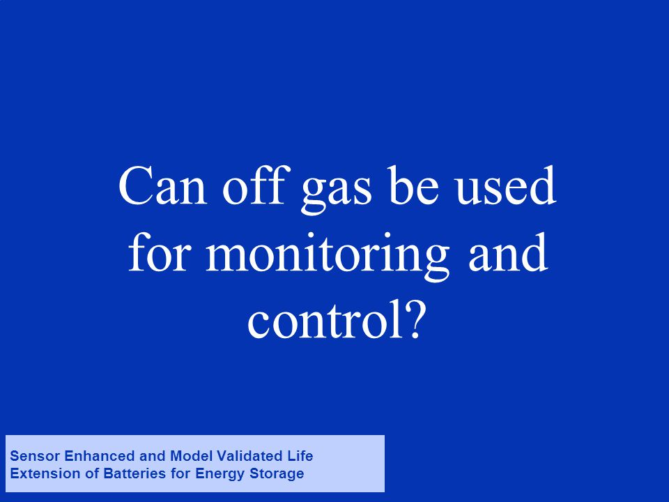 © Det Norske Veritas AS. All rights reserved. Can off gas be used for monitoring and control.
