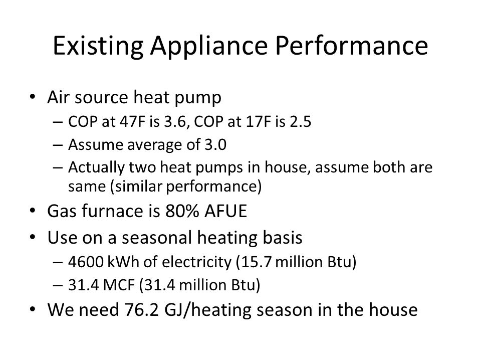 Existing Appliance Performance Air source heat pump – COP at 47F is 3.6, COP at 17F is 2.5 – Assume average of 3.0 – Actually two heat pumps in house, assume both are same (similar performance) Gas furnace is 80% AFUE Use on a seasonal heating basis – 4600 kWh of electricity (15.7 million Btu) – 31.4 MCF (31.4 million Btu) We need 76.2 GJ/heating season in the house