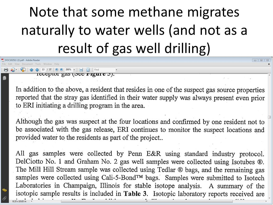 Note that some methane migrates naturally to water wells (and not as a result of gas well drilling)