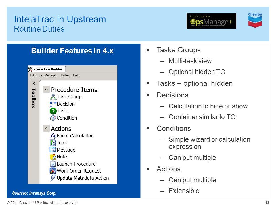 © 2011 Chevron U.S.A Inc. All rights reserved. IntelaTrac in Upstream Routine Duties Tasks Groups –Multi-task view –Optional hidden TG Tasks – optiona