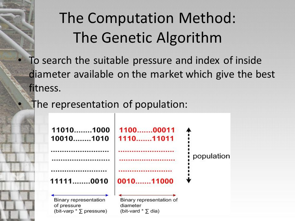 The Computation Method: The Genetic Algorithm To search the suitable pressure and index of inside diameter available on the market which give the best fitness.