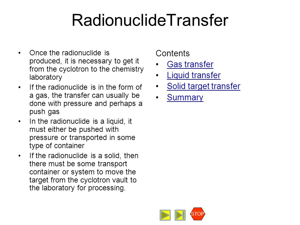 Radiopharmaceutical Production Radionuclide Transfer Transfer Considerations STOP