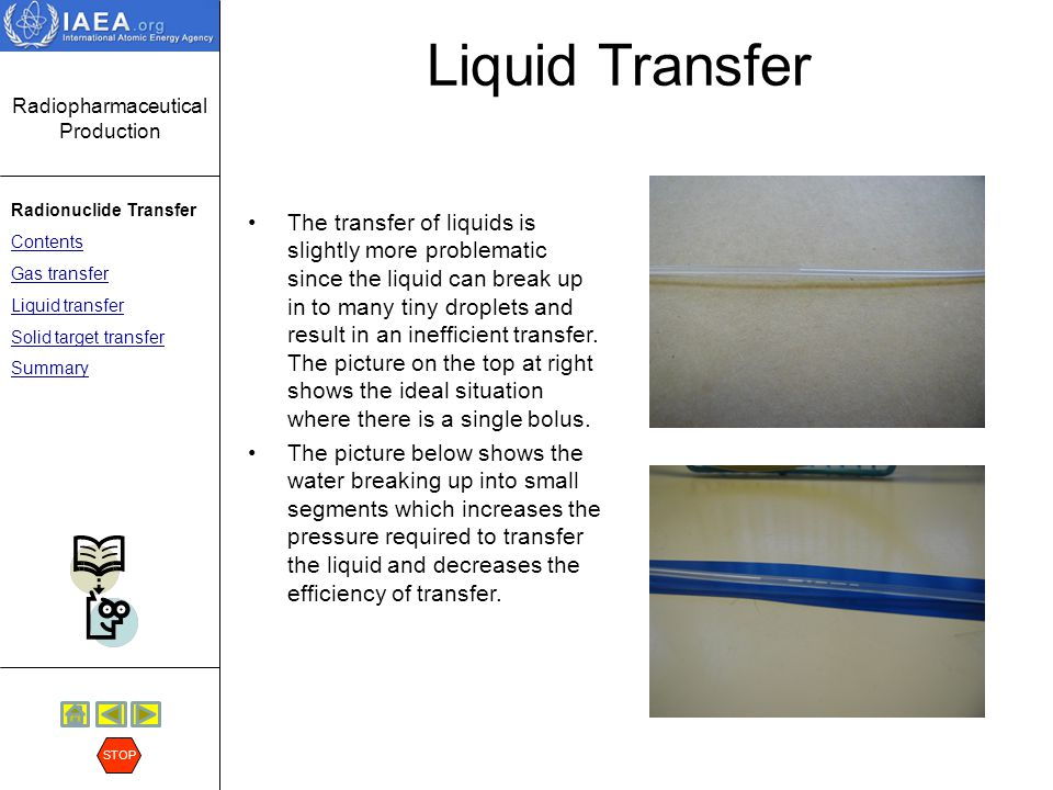 Radiopharmaceutical Production Radionuclide Transfer Contents Gas transfer Liquid transfer Solid target transfer Summary STOP Solid Target Transfer Solid target is loaded into target holder After irradiation the target is dropped down a chute At the end of the chute is a transport cart The transport cart is then moved along a track to the hot cell for processing Here is an example of a solid target transfer system where the target is moved using a cart and pulley system.