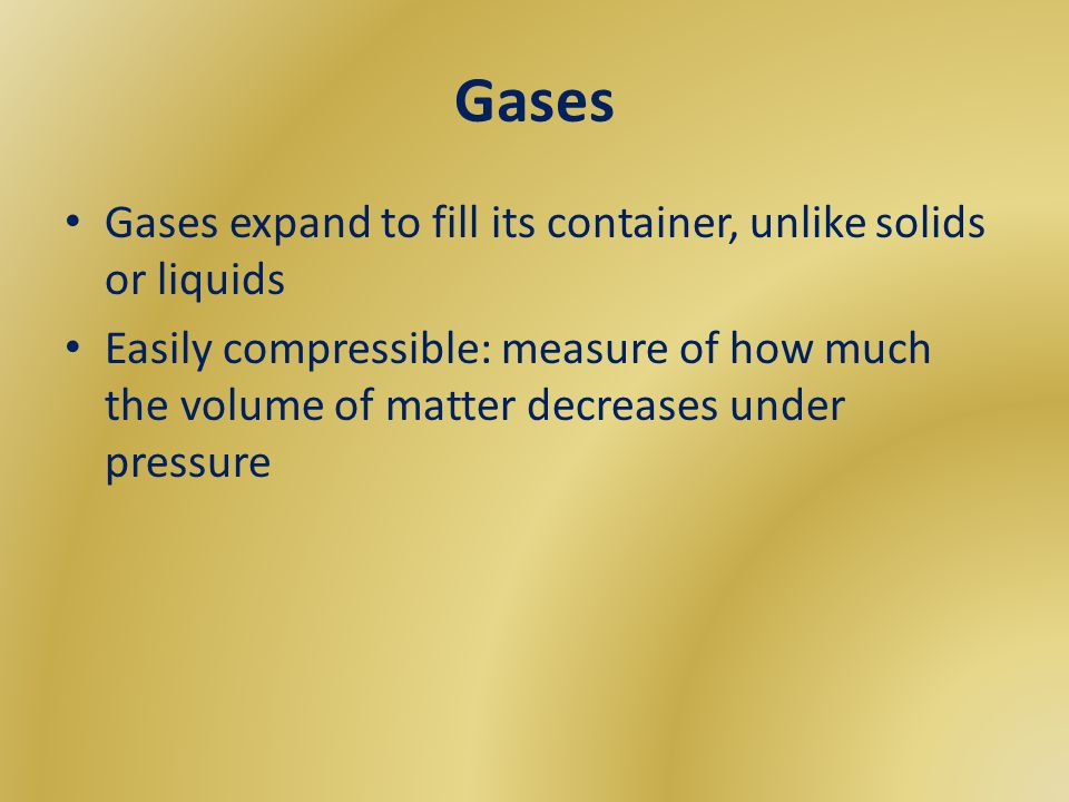 Variables that describe a gas Pressure (P) – Measured in kilopascals, kPa – Pressure and number of molecules are directly related increase molecules = increase pressure – Gases naturally move from areas of high pressure to low pressure, due to the available space to move into