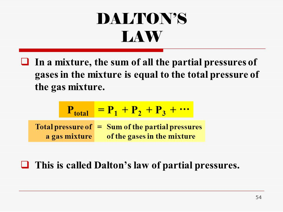 54 DALTONS LAW In a mixture, the sum of all the partial pressures of gases in the mixture is equal to the total pressure of the gas mixture.
