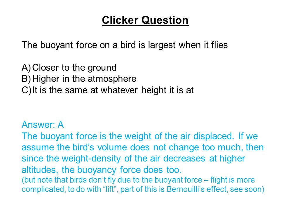 Clicker Question The buoyant force on a bird is largest when it flies A)Closer to the ground B)Higher in the atmosphere C)It is the same at whatever h