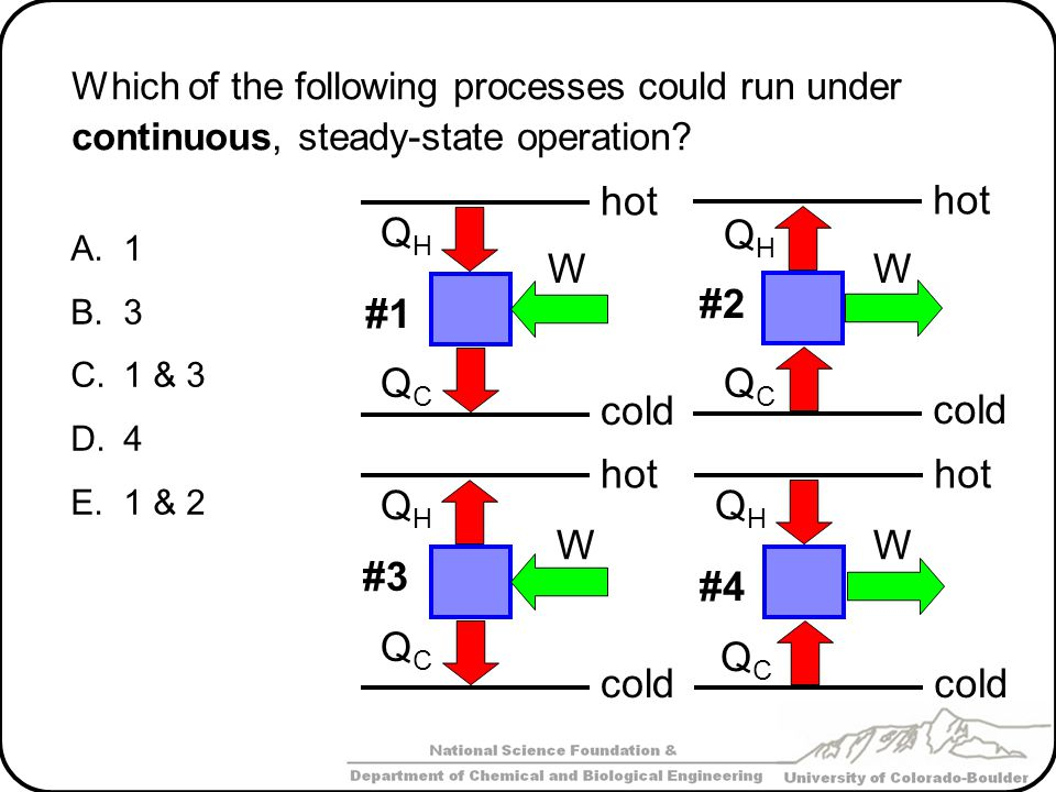 Which of the following processes could run under continuous, steady-state operation? A.1 B.3 C.1 & 3 D.4 E.1 & 2 W QHQH hot cold QCQC #1 W QHQH hot co