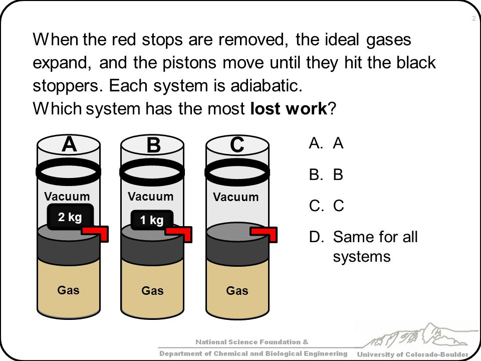 When the red stops are removed, the ideal gases expand, and the pistons move until they hit the black stoppers. Each system is adiabatic. Which system