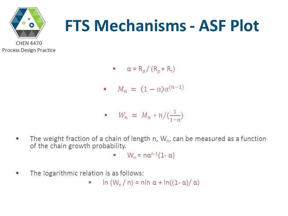 CHEN 4470 Process Design Practice FTS Mechanisms - ASF Plot