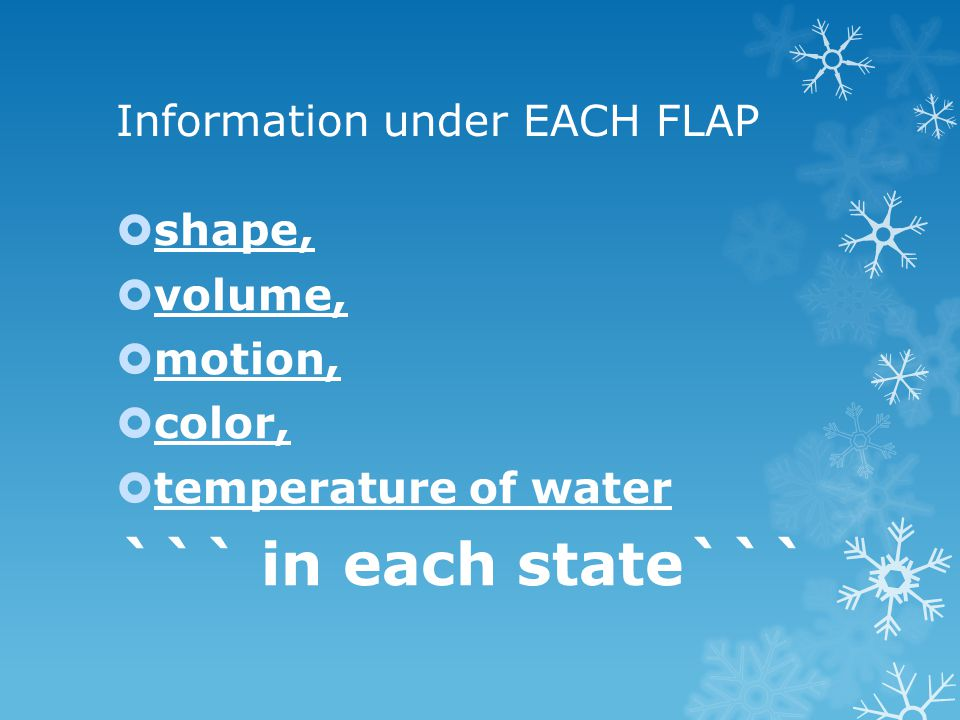 Information under EACH FLAP shape, volume, motion, color, temperature of water ``` in each state```