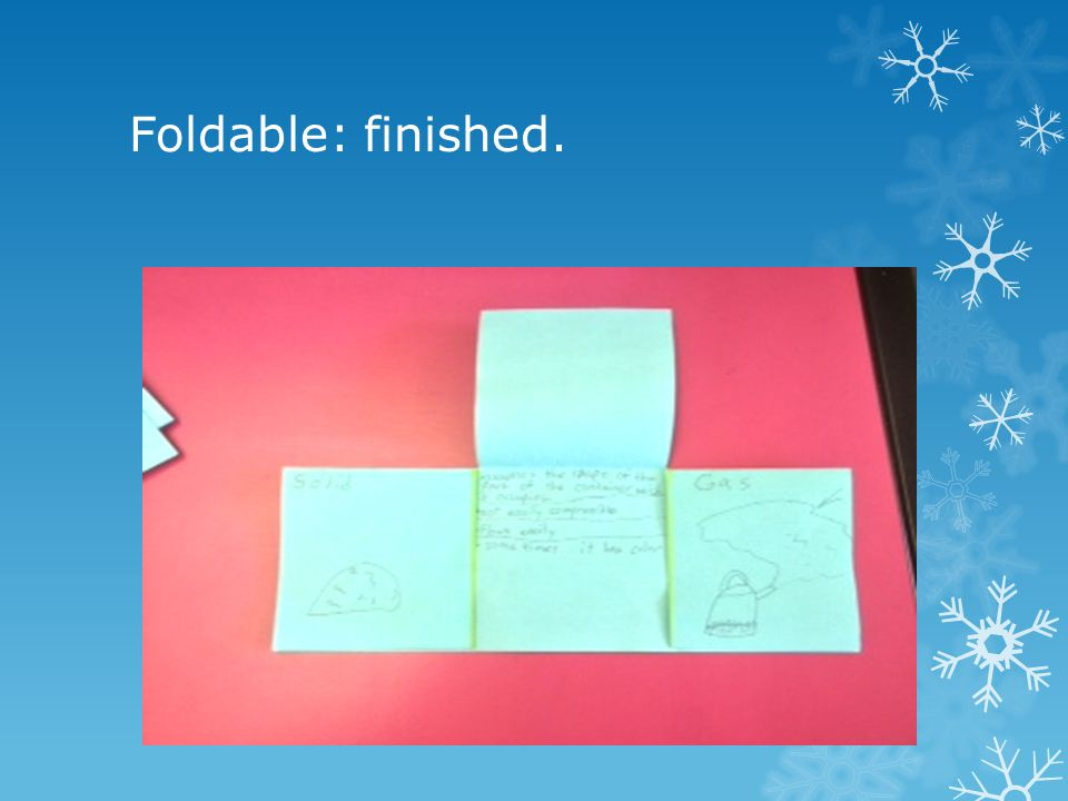 Front of the foldable: Write the word solid on the first flap, liquid on the second flap, and gas on the third flap.
