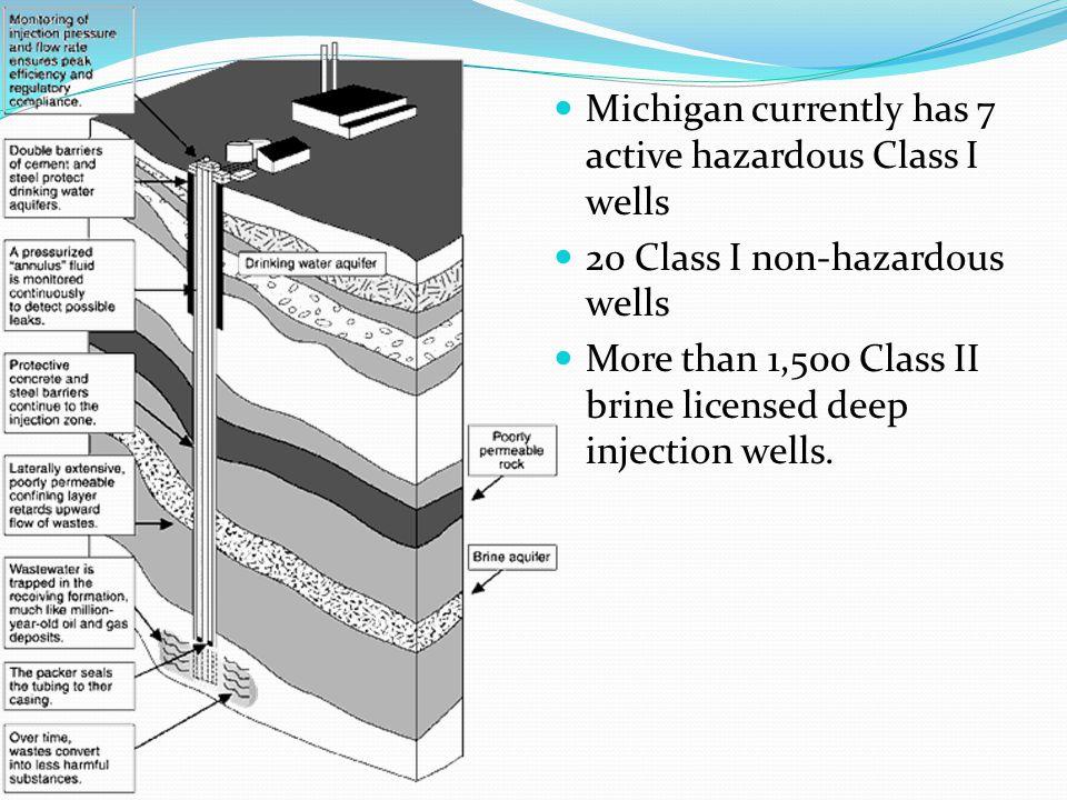 Michigan currently has 7 active hazardous Class I wells 20 Class I non-hazardous wells More than 1,500 Class II brine licensed deep injection wells.