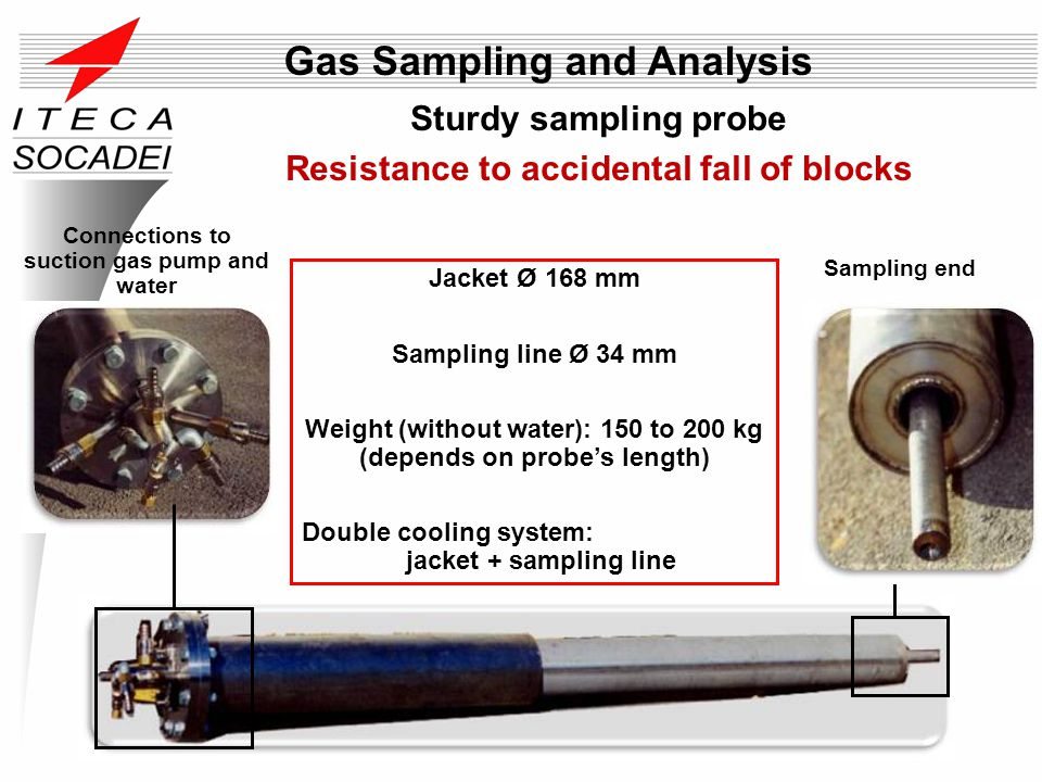 Sturdy sampling probe Resistance to accidental fall of blocks Sampling end Connections to suction gas pump and water Jacket Ø 168 mm Sampling line Ø 3