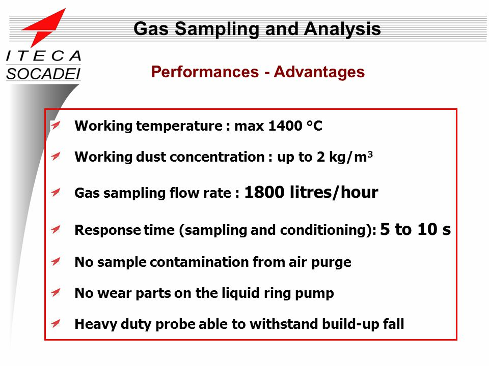 Working temperature : max 1400 °C Working dust concentration : up to 2 kg/m 3 Gas sampling flow rate : 1800 litres/hour Response time (sampling and co