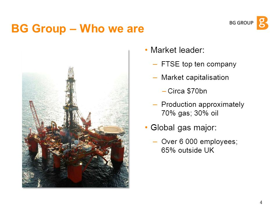 5 Countries of current operation BG Group is active in more than 20 countries across five continents Global portfolio
