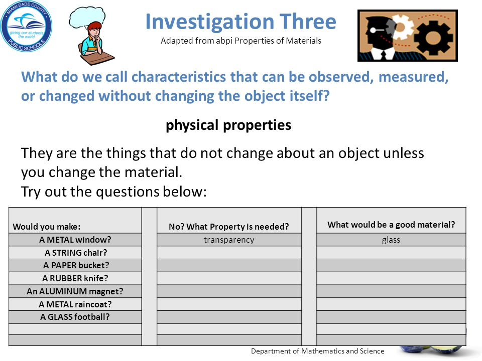 Department of Mathematics and Science Investigation Three Adapted from abpi Properties of Materials Would you make: No? What Property is needed? What
