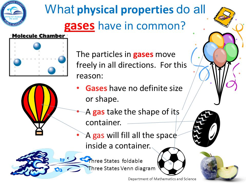 Department of Mathematics and Science What physical properties do all gases have in common? gases The particles in gases move freely in all directions
