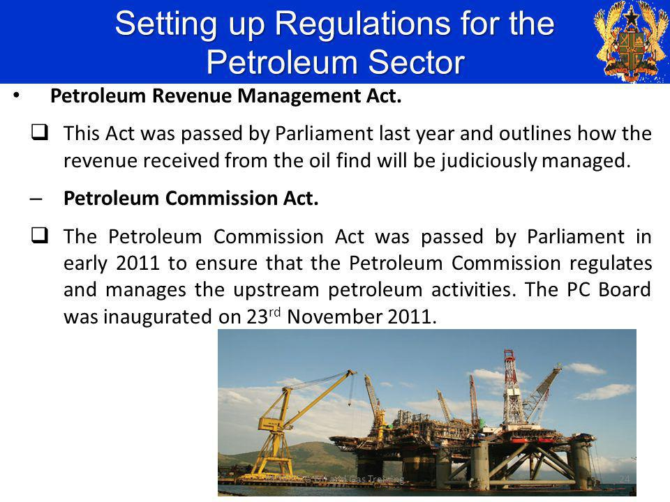 Setting up Regulations for the Petroleum Sector Petroleum Revenue Management Act.