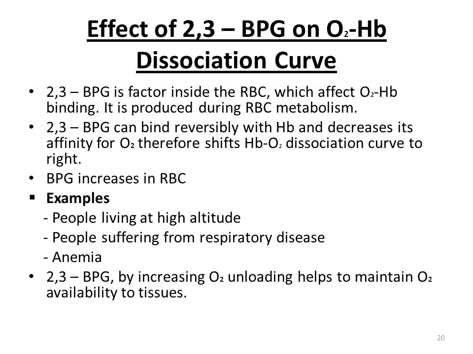 Effect of 2,3 – BPG on O 2 -Hb Dissociation Curve 2,3 – BPG is factor inside the RBC, which affect O 2 -Hb binding. It is produced during RBC metaboli