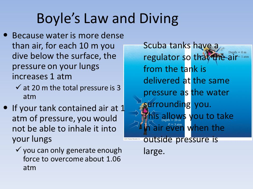 Boyles Law and Diving Scuba tanks have a regulator so that the air from the tank is delivered at the same pressure as the water surrounding you. This