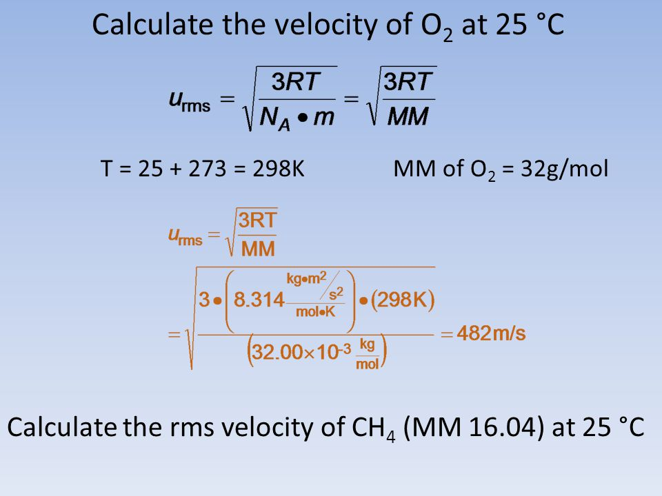 Calculate the velocity of O 2 at 25 °C T = 25 + 273 = 298KMM of O 2 = 32g/mol Calculate the rms velocity of CH 4 (MM 16.04) at 25 °C
