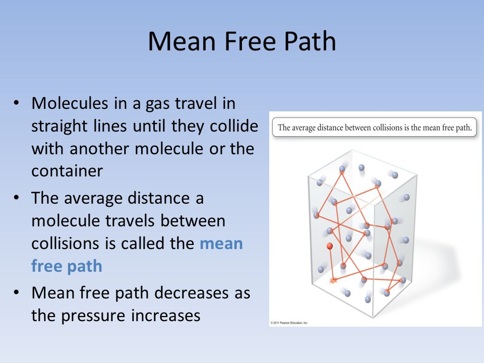 Mean Free Path Molecules in a gas travel in straight lines until they collide with another molecule or the container The average distance a molecule t