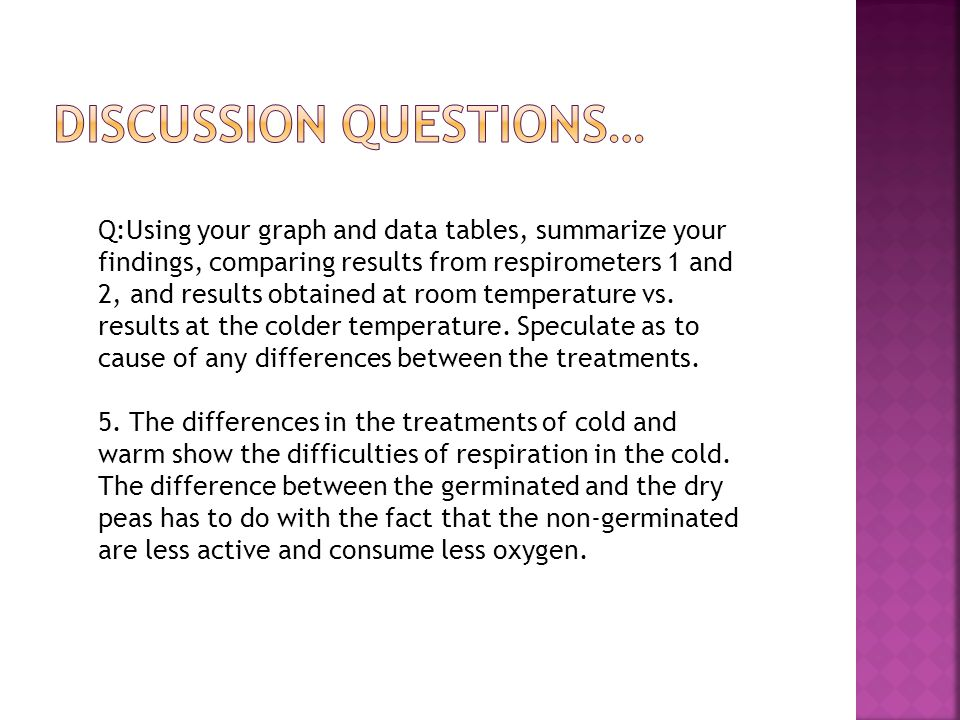 Q:Using your graph and data tables, summarize your findings, comparing results from respirometers 1 and 2, and results obtained at room temperature vs