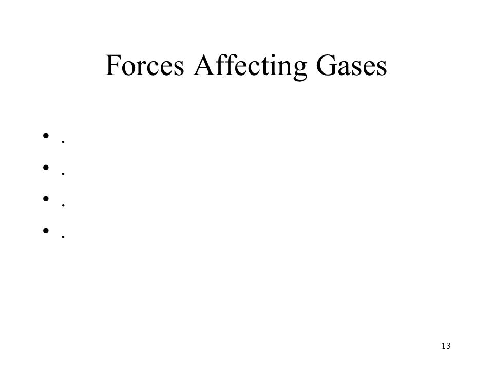 Forces Affecting Gases. 13