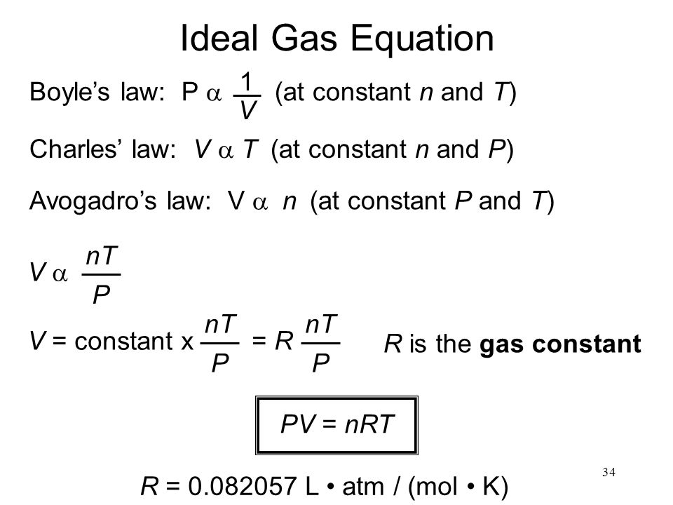 34 Ideal Gas Equation Charles law: V T (at constant n and P) Avogadros law: V n (at constant P and T) Boyles law: P (at constant n and T) 1 V V nT P V