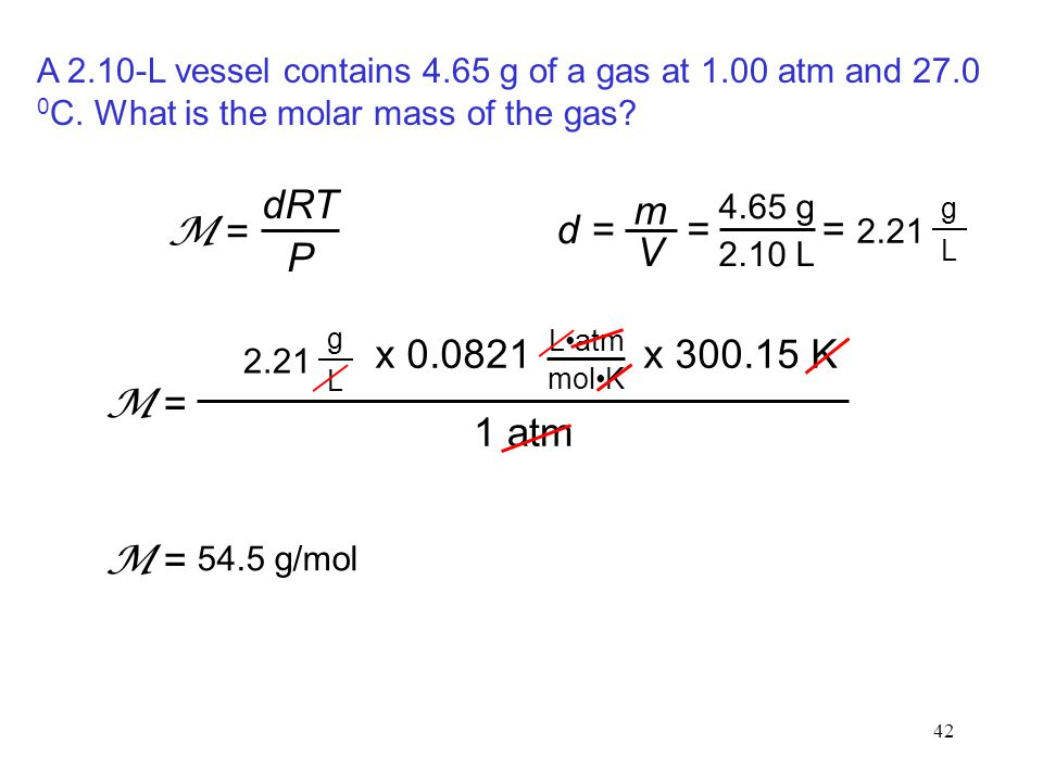 42 A 2.10-L vessel contains 4.65 g of a gas at 1.00 atm and 27.0 0 C. What is the molar mass of the gas? dRT P M = d = m V 4.65 g 2.10 L = = 2.21 g L