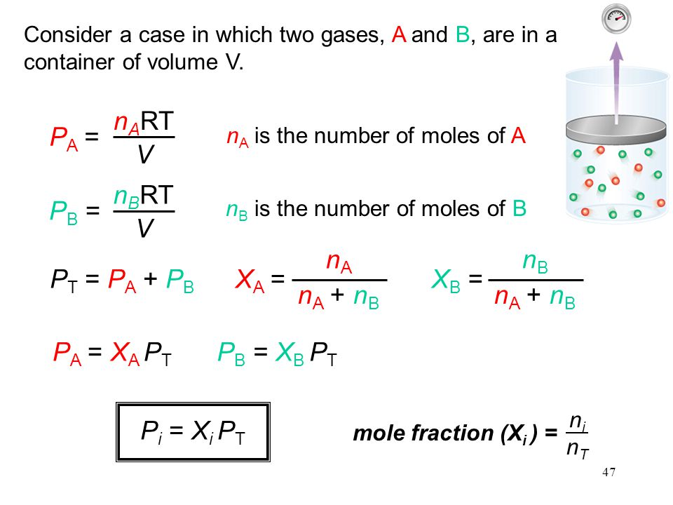 47 Consider a case in which two gases, A and B, are in a container of volume V. P A = n A RT V P B = n B RT V n A is the number of moles of A n B is t