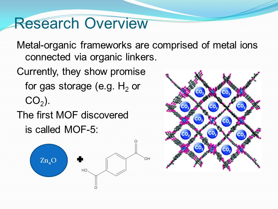 Research Overview Metal-organic frameworks are comprised of metal ions connected via organic linkers.