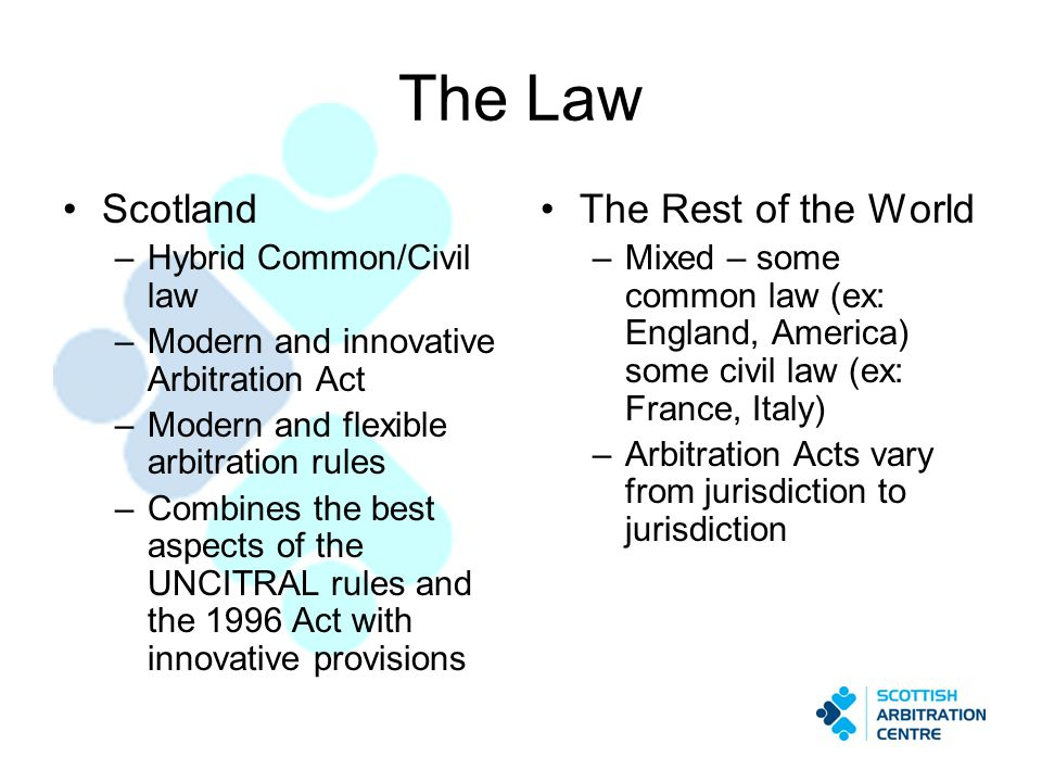 The Law Scotland –Hybrid Common/Civil law –Modern and innovative Arbitration Act –Modern and flexible arbitration rules –Combines the best aspects of the UNCITRAL rules and the 1996 Act with innovative provisions The Rest of the World –Mixed – some common law (ex: England, America) some civil law (ex: France, Italy) –Arbitration Acts vary from jurisdiction to jurisdiction