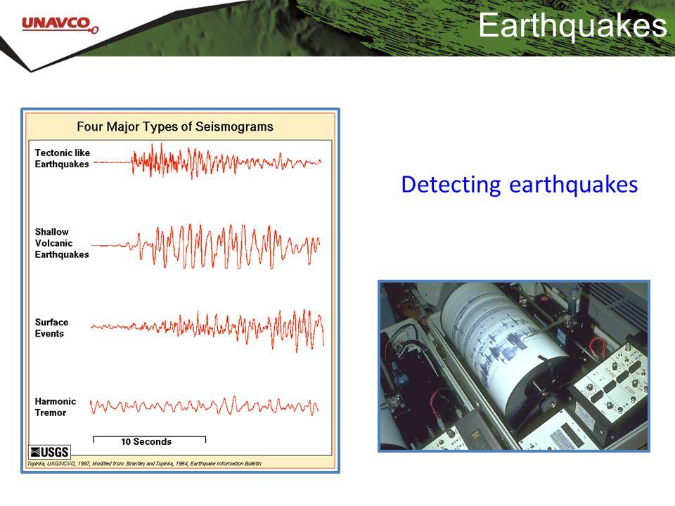 Earthquakes Detecting earthquakes