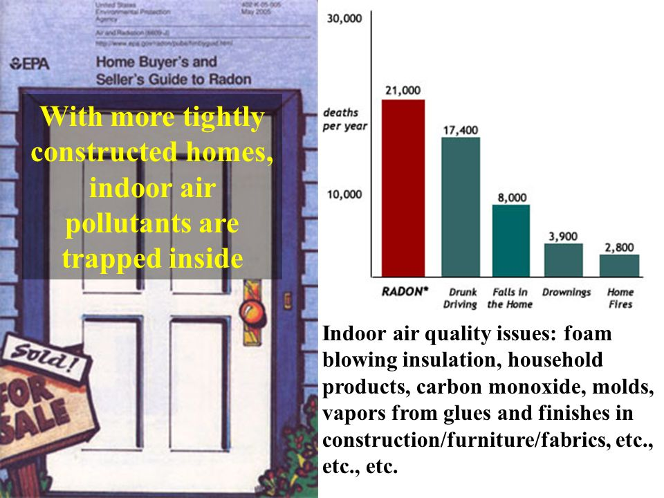 Indoor air quality issues: foam blowing insulation, household products, carbon monoxide, molds, vapors from glues and finishes in construction/furniture/fabrics, etc., etc.
