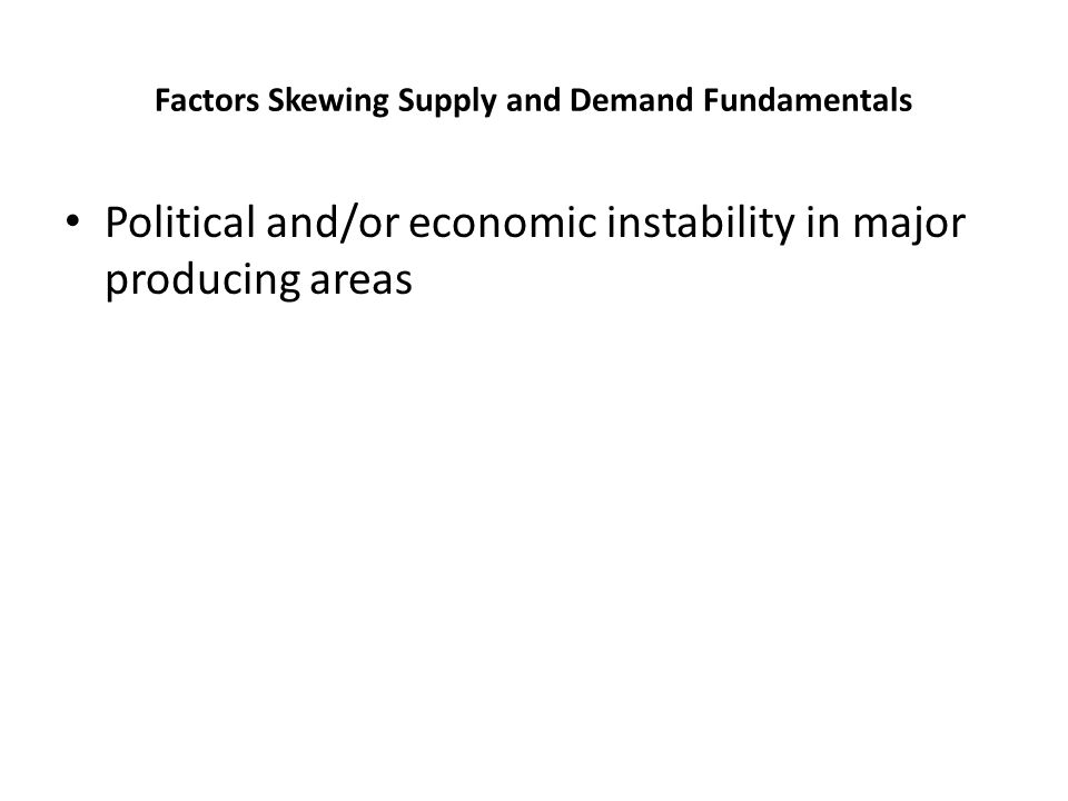 Factors Skewing Supply and Demand Fundamentals Political and/or economic instability in major producing areas
