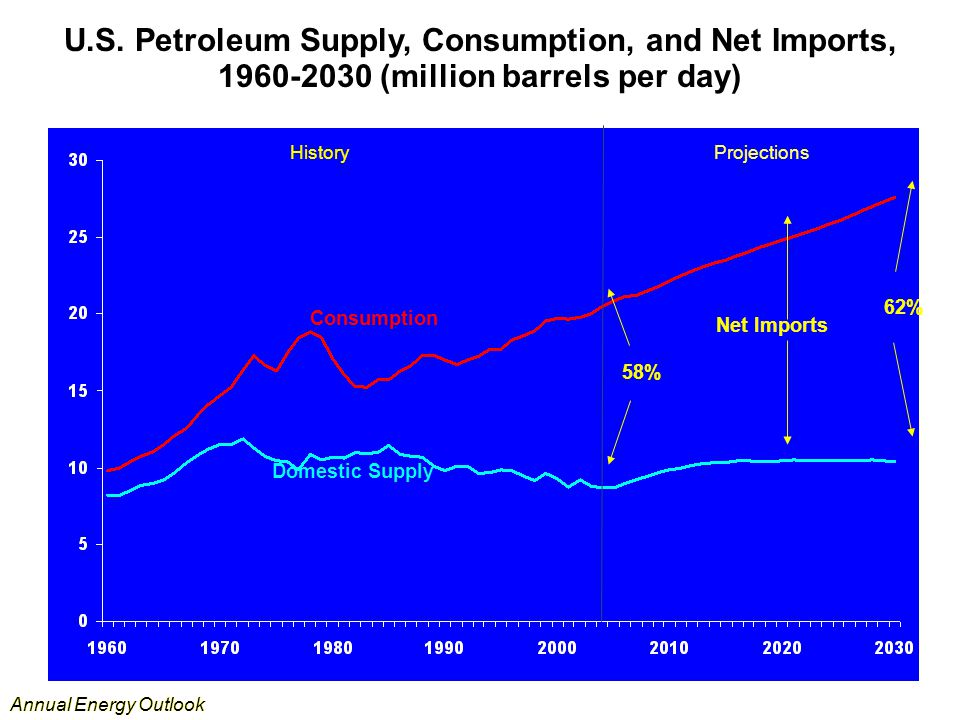 Annual Energy Outlook U.S. Petroleum Supply, Consumption, and Net Imports, 1960-2030 (million barrels per day) Consumption Domestic Supply Net Imports