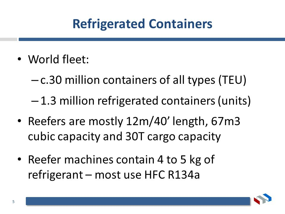 5 Refrigerated Containers World fleet: – c.30 million containers of all types (TEU) – 1.3 million refrigerated containers (units) Reefers are mostly 12m/40 length, 67m3 cubic capacity and 30T cargo capacity Reefer machines contain 4 to 5 kg of refrigerant – most use HFC R134a
