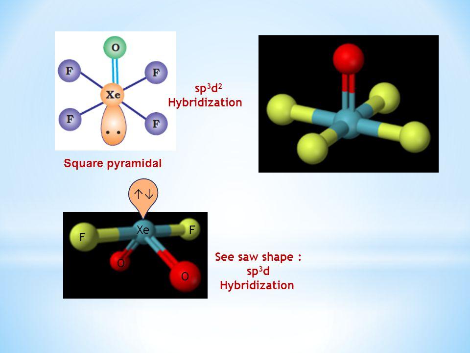 Square pyramidal F F O O Xe sp 3 d 2 Hybridization See saw shape : sp 3 d Hybridization