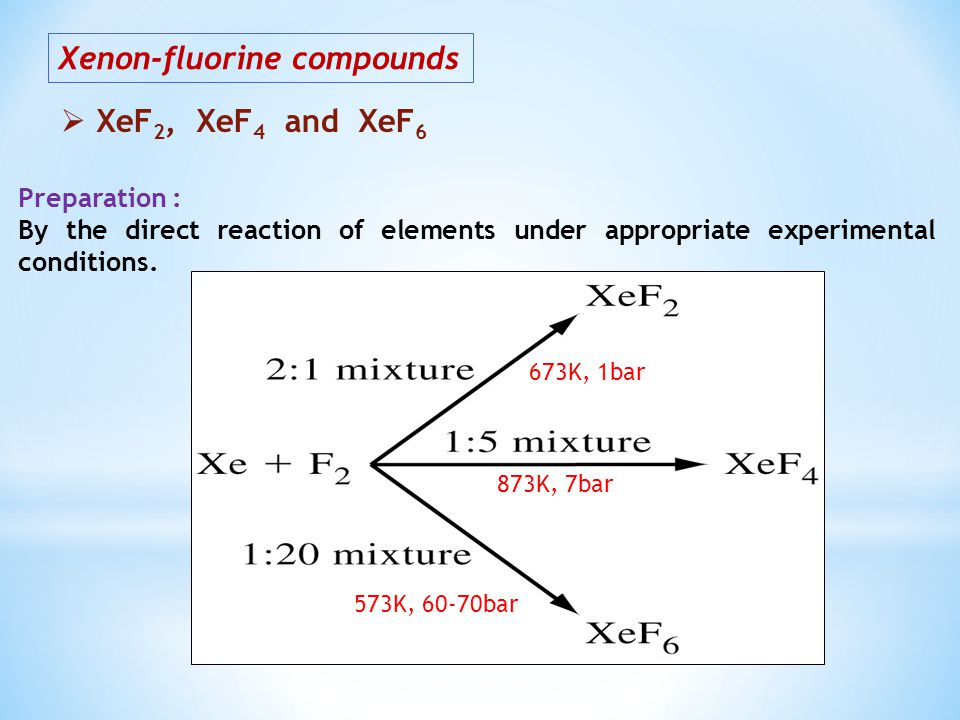 Xenon-fluorine compounds XeF 2, XeF 4 and XeF 6 Preparation : By the direct reaction of elements under appropriate experimental conditions.