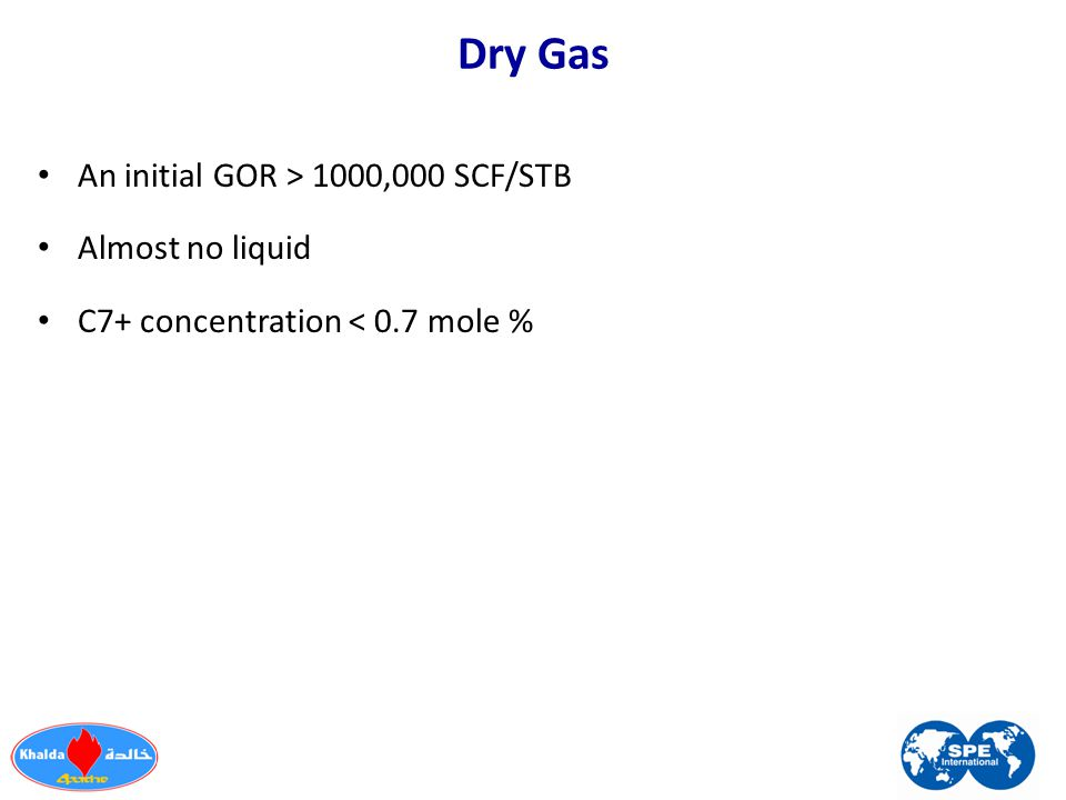 Dry Gas An initial GOR > 1000,000 SCF/STB Almost no liquid C7+ concentration < 0.7 mole %