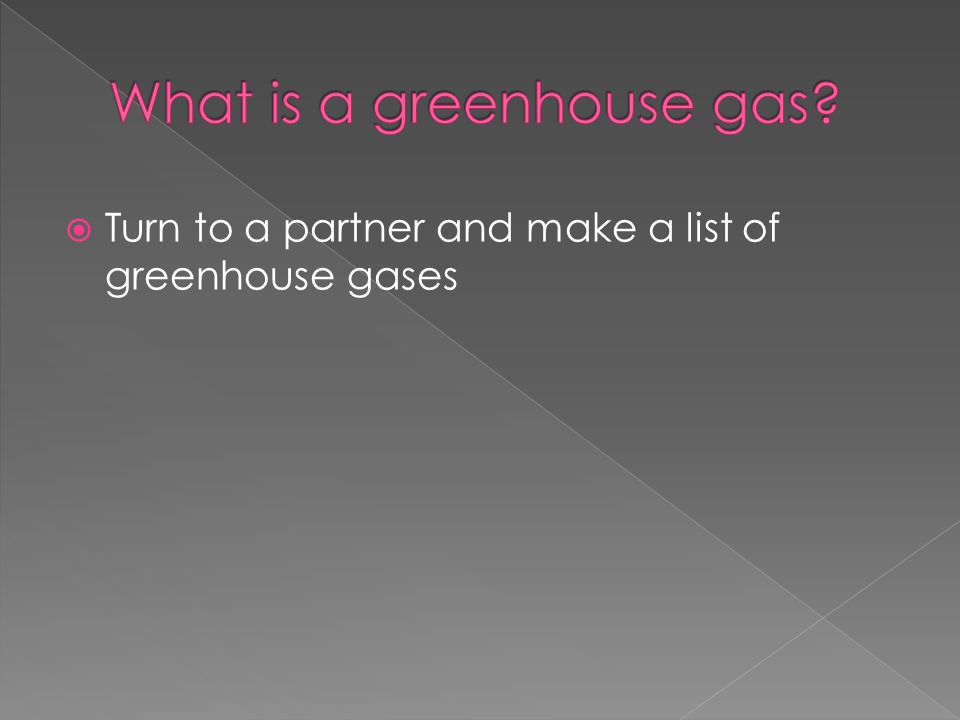 Turn to a partner and make a list of greenhouse gases