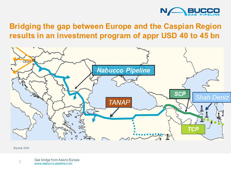 Gas bridge from Asia to Europe www.nabucco-pipeline.com Bridging the gap between Europe and the Caspian Region results in an investment program of appr USD 40 to 45 bn 2 Shah Deniz TANAP Source: OMV