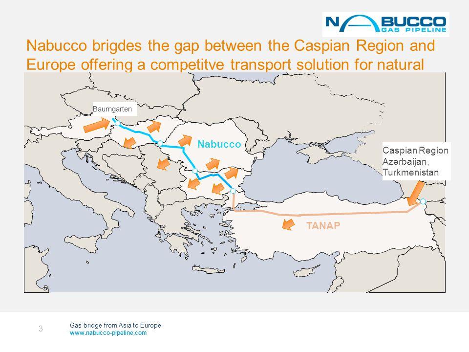 Gas bridge from Asia to Europe www.nabucco-pipeline.com NABUCCO – Market Access (2030 Forecast) NABUCCO TRANSIT MARKETS: 43 bcma Plus NEIGHBOURING MARKETS: accum.