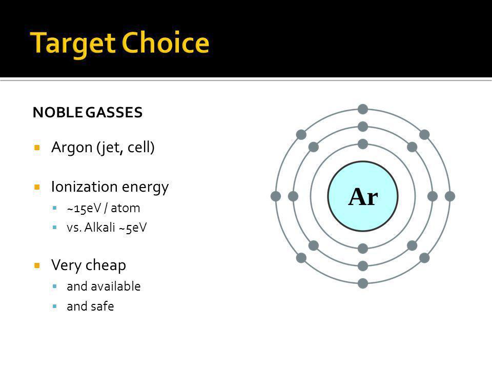 NOBLE GASSES Argon (jet, cell) Ionization energy ~15eV / atom vs.