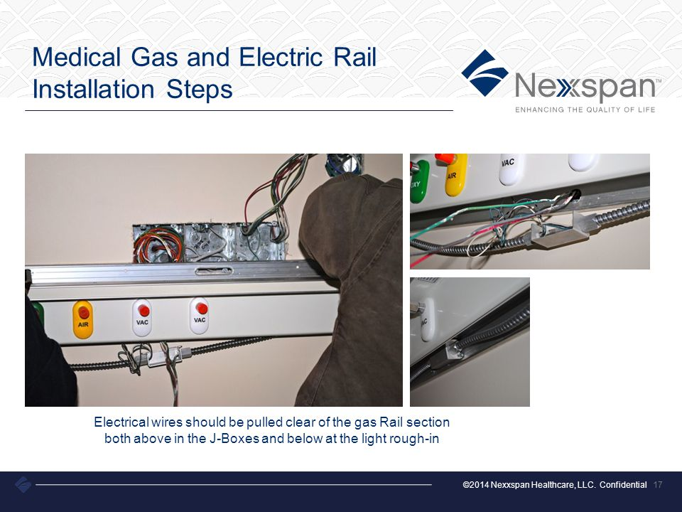 ©2014 Nexxspan Healthcare, LLC. Confidential Medical Gas and Electric Rail Installation Steps 17 Electrical wires should be pulled clear of the gas Ra