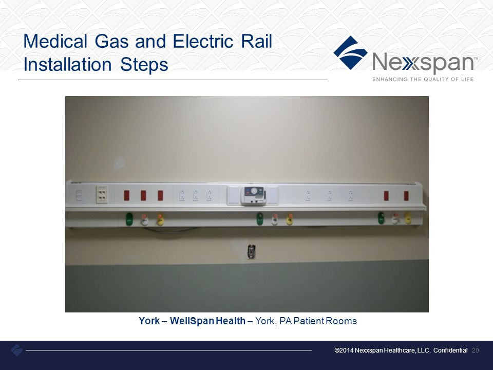 ©2014 Nexxspan Healthcare, LLC. Confidential Medical Gas and Electric Rail Installation Steps 20 York – WellSpan Health – York, PA Patient Rooms