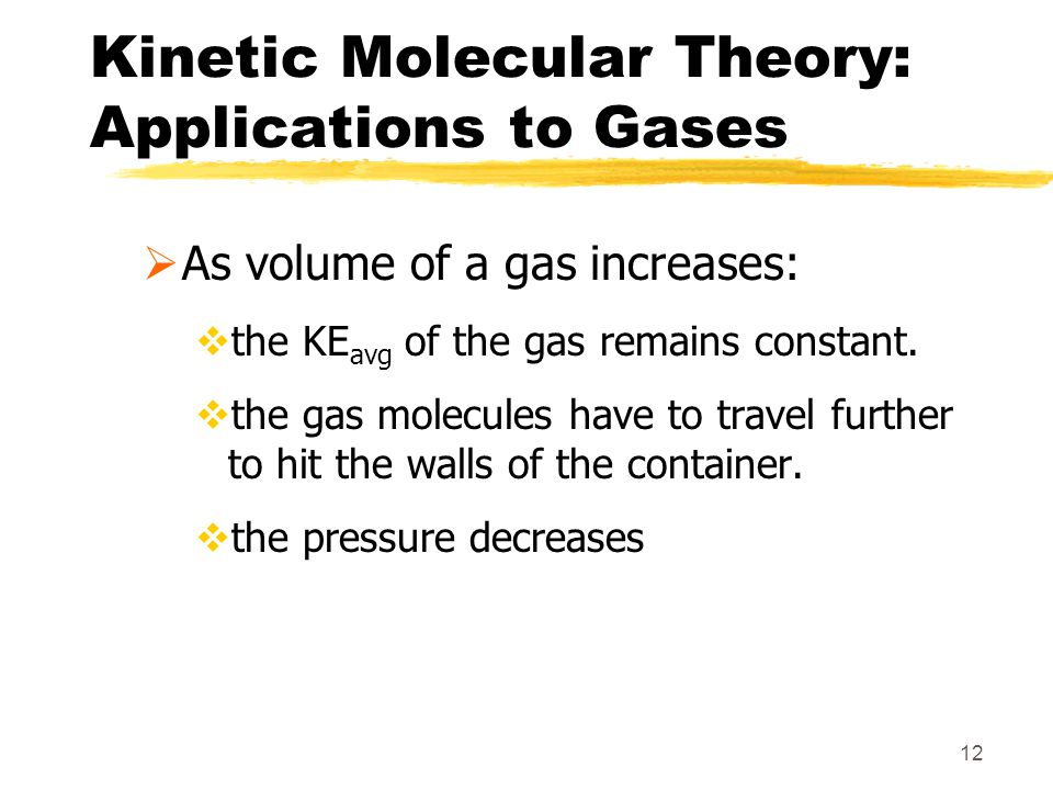 12 Kinetic Molecular Theory: Applications to Gases As volume of a gas increases: the KE avg of the gas remains constant. the gas molecules have to tra