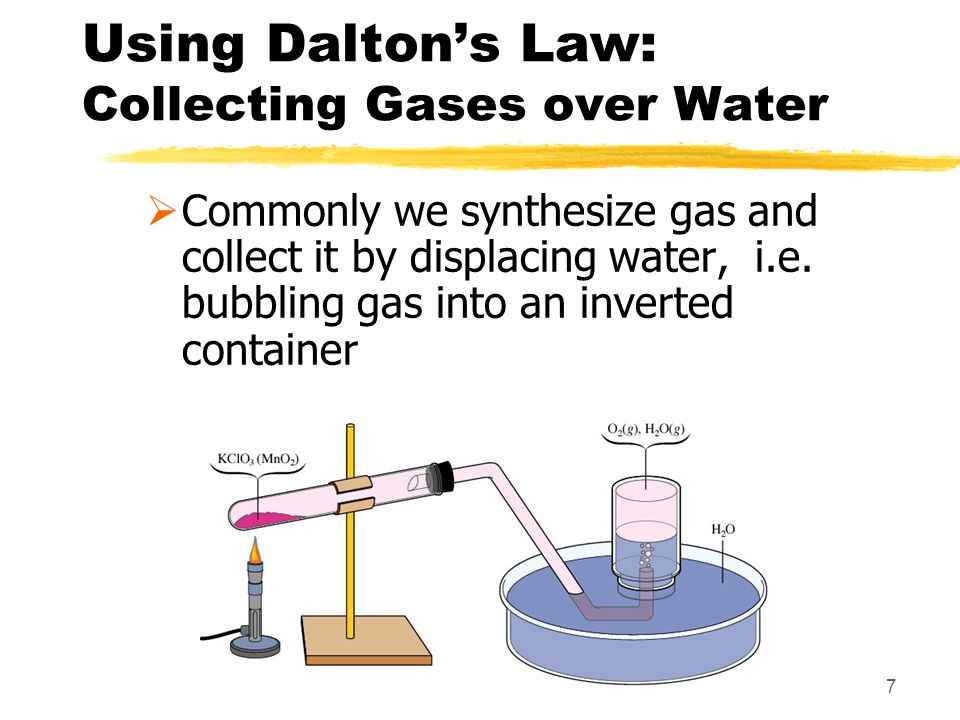 7 Using Daltons Law: Collecting Gases over Water Commonly we synthesize gas and collect it by displacing water, i.e. bubbling gas into an inverted con