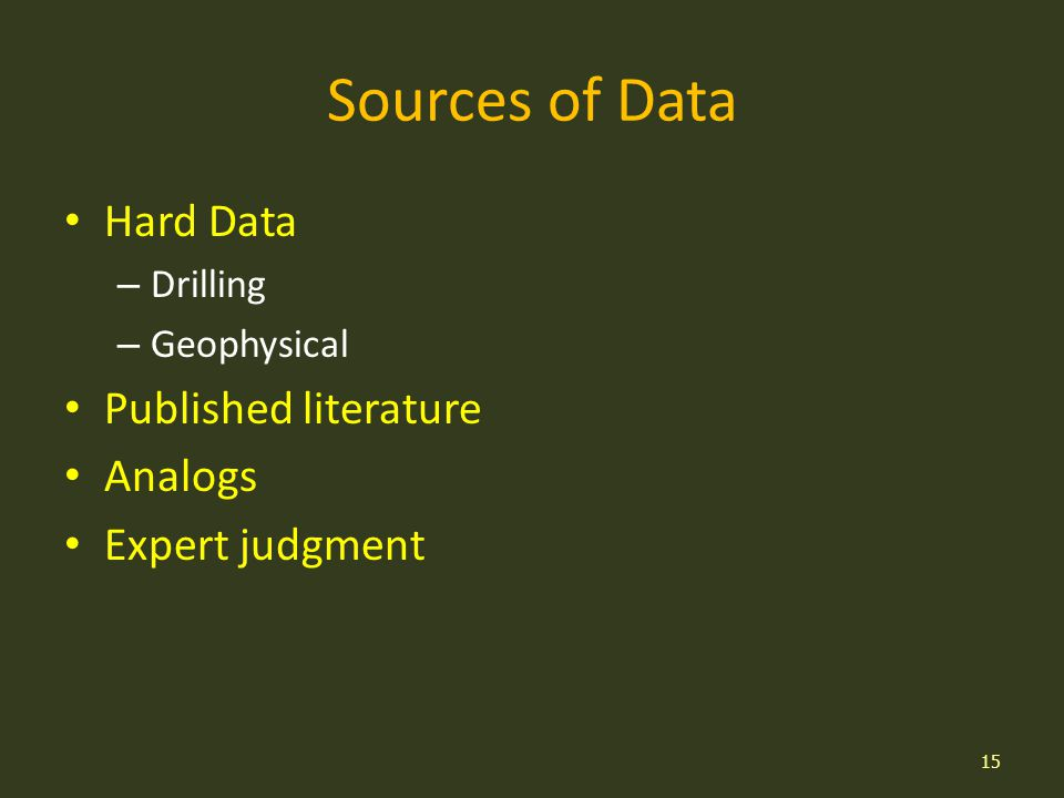 Sources of Data Hard Data – Drilling – Geophysical Published literature Analogs Expert judgment 15